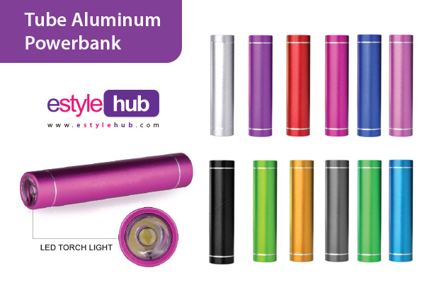 Estyle Hub Premium Gifts Aluminum Powerbank with LED torch light